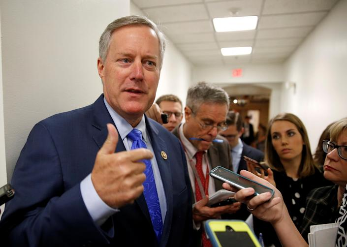 Mark Meadows, R-N.C., House Freedom Caucus chairman, speaks to reporters on Capitol Hill in May. (Photo: Joshua Roberts/Reuters)