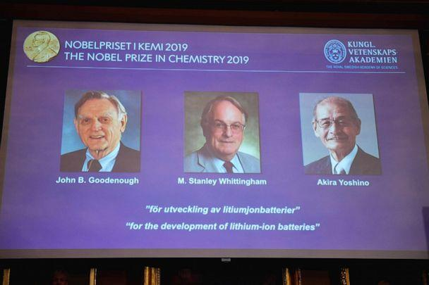 PHOTO: A screen displays the laureates of the 2019 Nobel Prize in Chemistry during a news conference at the Royal Swedish Academy of Sciences in Stockholm, Sweden, Oct. 9, 2019. (Naina Helen Jama/AP)