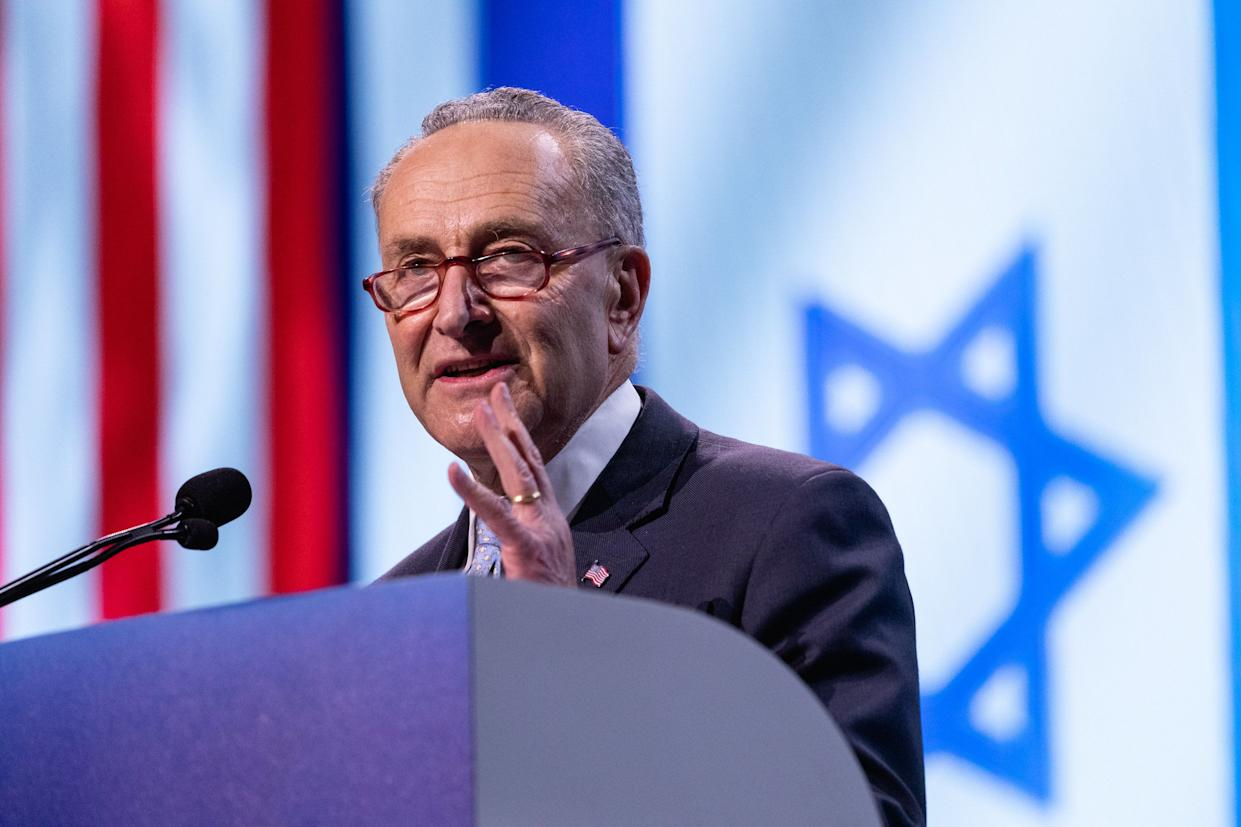Sen. Chuck Schumer, D-N.Y., speaks at the 2019 American Israel Public Affairs Committee Policy Conference in Washington, D.C., on Monday. (Photo: Cheriss May/NurPhoto via Getty Images)