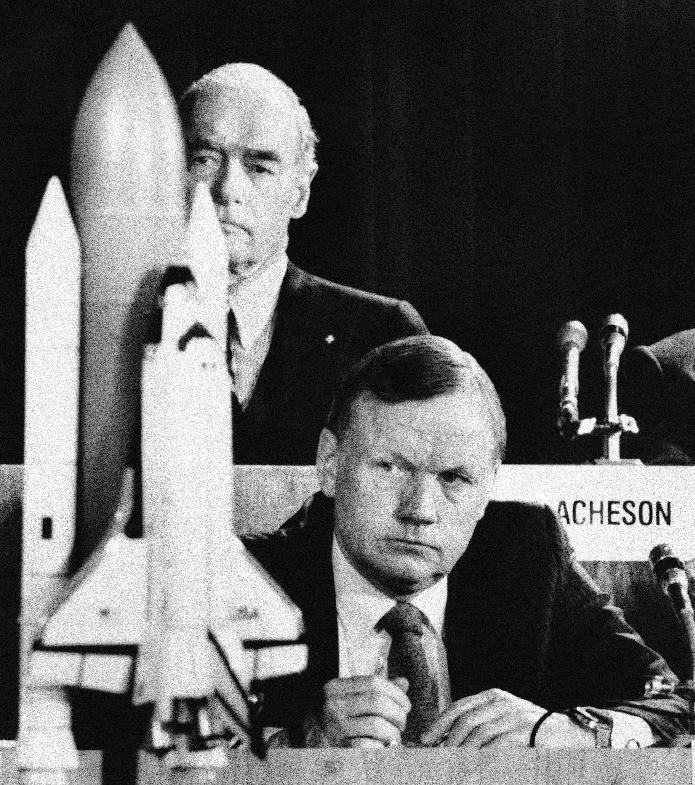 "FILE - In this Feb. 11, 1986 file photo, former astronaut Neil Armstrong, a member of the presidential panel investigating the Space Shuttle Challenger explosion, listens to testimony before the commission in Washington, as David Acheson, a commission member, listens in the background. A model of the shuttle sits on the table. The family of Neil Armstrong, the first man to walk on the moon, says he died Saturday, Aug. 25, 2012, at age 82. A statement from the family says he died following complications resulting from cardiovascular procedures. It doesn't say where he died. Armstrong commanded the Apollo 11 spacecraft that landed on the moon July 20, 1969. He radioed back to Earth the historic news of ""one giant leap for mankind."" Armstrong and fellow astronaut Edwin ""Buzz"" Aldrin spent nearly three hours walking on the moon, collecting samples, conducting experiments and taking photographs. In all, 12 Americans walked on the moon from 1969 to 1972. (AP Photo/Scott Stewart, File)"
