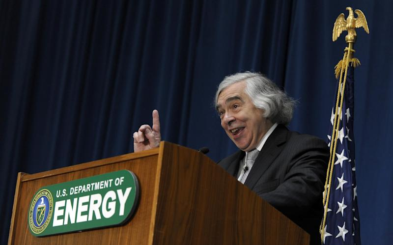 Dr. Ernest Moniz speaks after being sworn in as Energy Secretary, Tuesday, May 21, 2013, during a ceremony at the Energy Department in Washington. Moniz, 68, a professor at the Massachusetts Institute of Technology, replaces Steven Chu, who served as energy secretary in President Barack Obama's first term. Moniz served as an energy undersecretary in the Clinton administration. (AP Photo/Susan Walsh)
