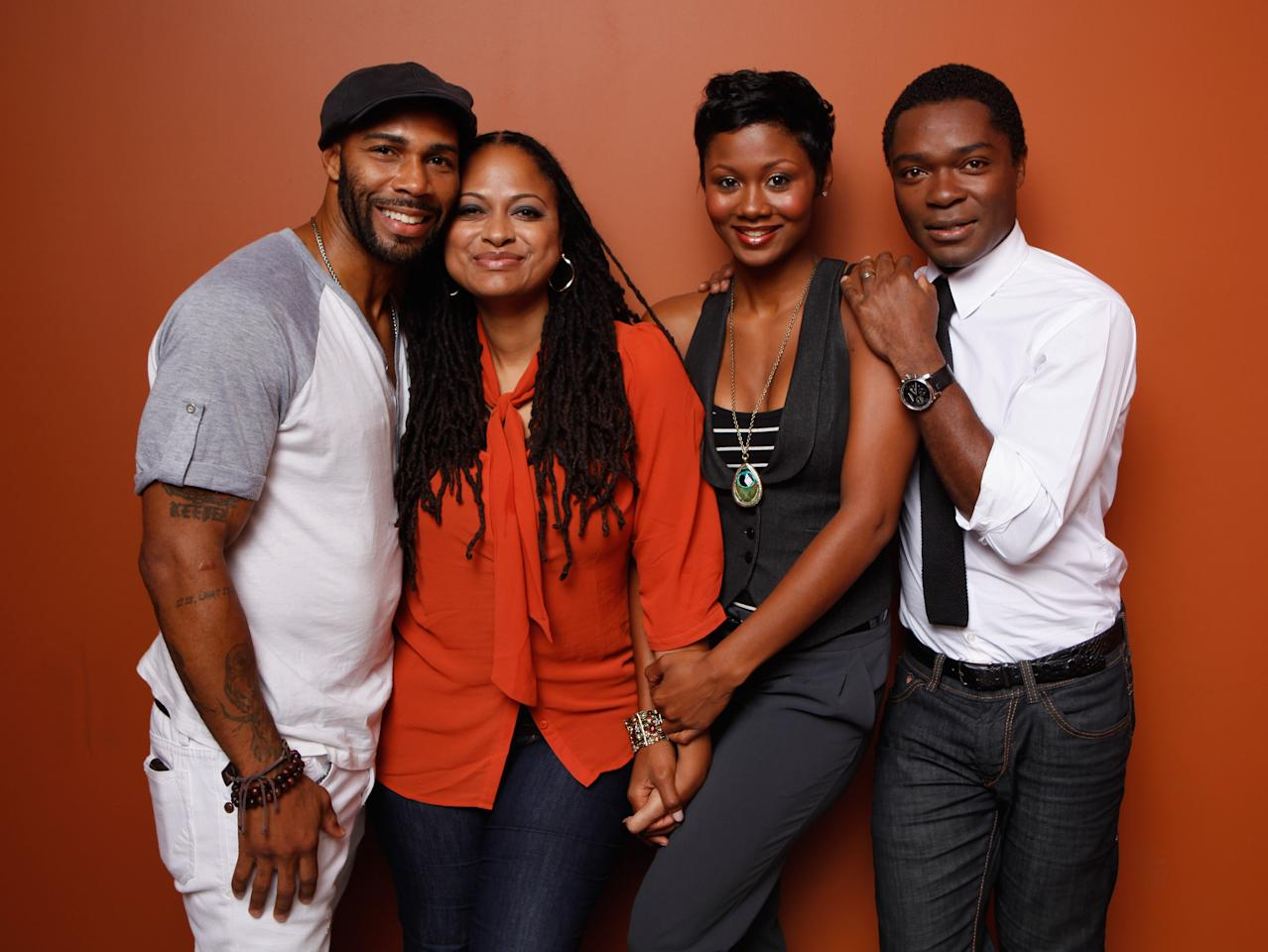 "TORONTO, ON - SEPTEMBER 12:  (L-R) Actor Omari Hardwick, director/producer/writer Ava DuVernay, actress Emayatzy Corinealdi and actor David Oyelowo of ""Middle of Nowhere"" pose at the Guess Portrait Studio during 2012 Toronto International Film Festival on September 12, 2012 in Toronto, Canada.  (Photo by Matt Carr/Getty Images)"