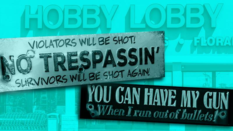 "Hobby Lobby is under fire from customers who believe their firearm paraphernalia ""encourages"" gun violence. (Credit: Nathalie Gonzalez)"