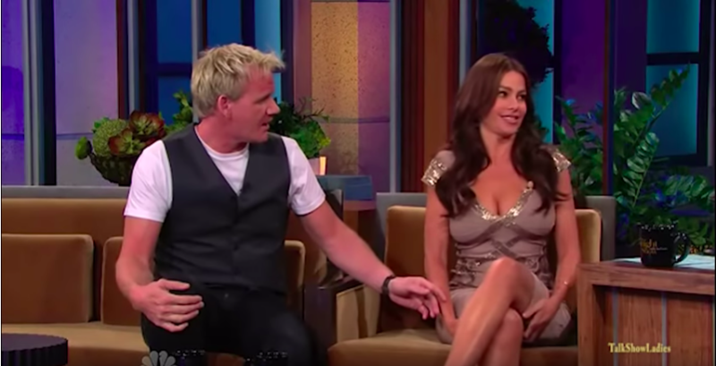 """Chef Gordon Ramsey and Sofia Vergara on """"The Tonight Show with Jay Leno"""" in 2010. (The Tonight Show/YouTube)"""