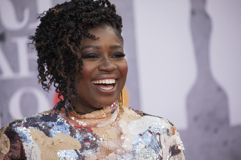 Clara Amfo poses for photographers upon arrival at the Brit Awards 2019 in London, on Wednesday, February 20, 2019 (Photo by Vianney Le Caer / Invision / AP)