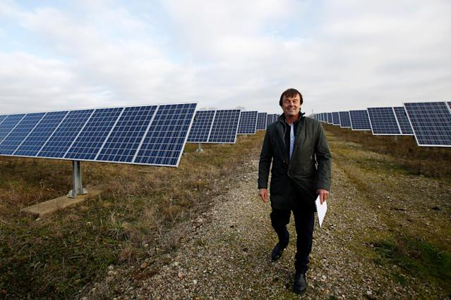 French Minister for Ecological and Inclusive Transition Nicolas Hulot poses during a visit at a photovoltaic power plant in Allonnes near Le Mans, France January 8, 2018. REUTERS/Stephane Mahe