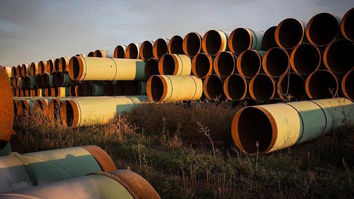 Miles of pipe sit in North Dakota ready to be used for the Keystone XL pipeline (FILE)