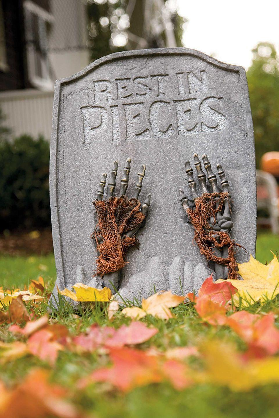 <p>Foam graves are a classic way to dress up your yard for the season.</p>