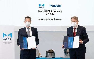Marelli and PUNCH form a joint venture focused on e-axle solutions: agreement signing ceremony - Hannes Prenn, Executive Vice President and CEO of Marelli's Electric Powertrain business, and Guido Dumarey, founder and CEO PUNCH (PRNewsfoto/Marelli)