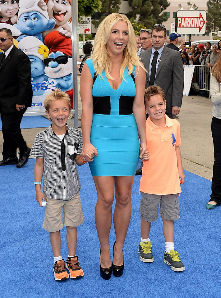 "WESTWOOD, CA - JULY 28:  Britney Spears (C), sons Sean Federline, and Jayden James Federline attend the premiere of Columbia Pictures' ""Smurfs 2"" at Regency Village Theatre on July 28, 2013 in Westwood, California.  (Photo by Jason Merritt/Getty Images)"