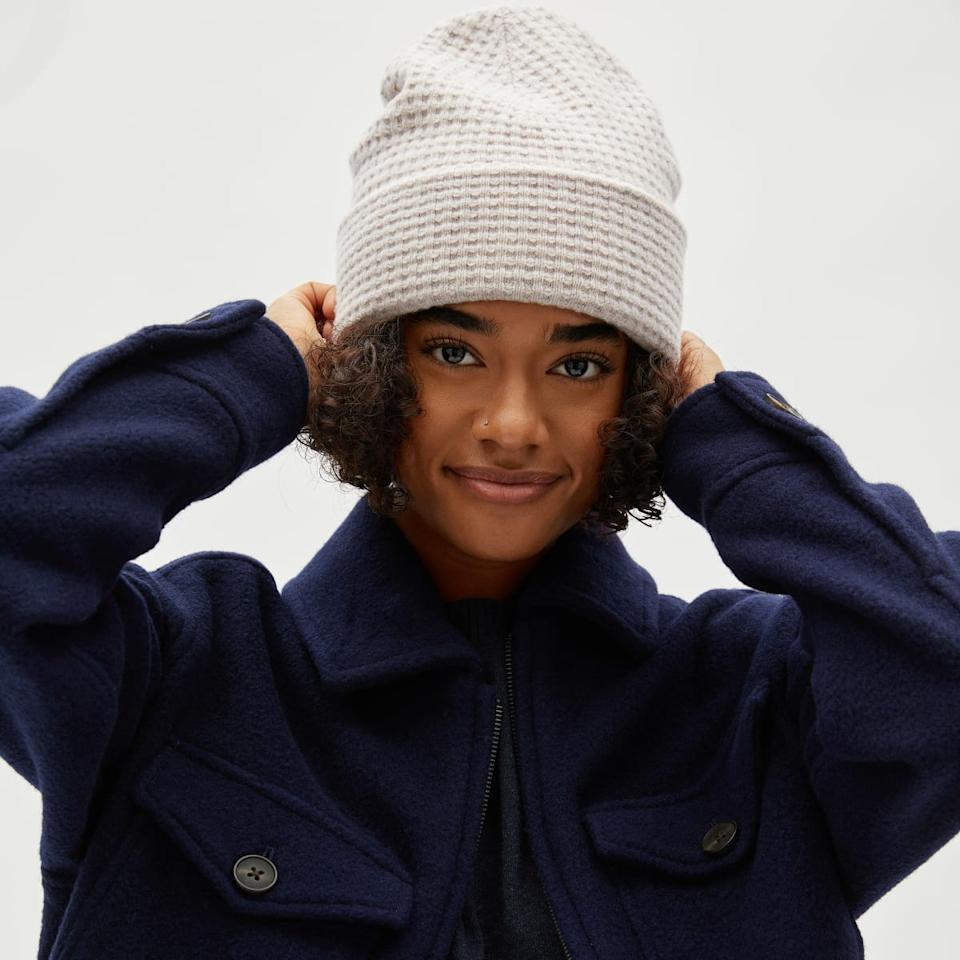 Everlane's new Belgian Waffle beanie is just one of their cold weather must-have accessories.