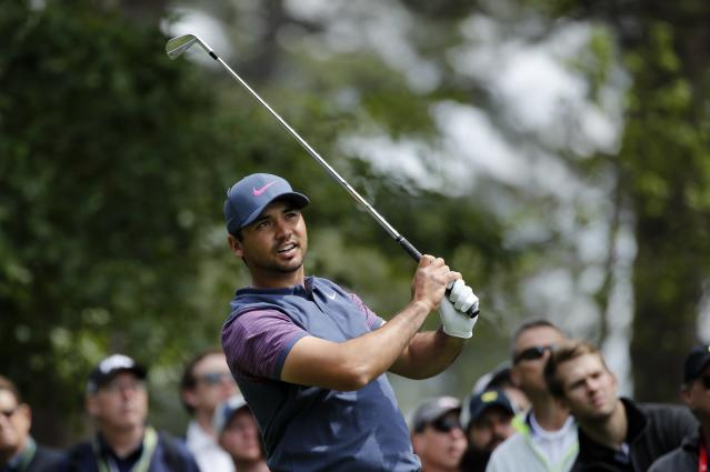 Jason Day of Australia hits off the fourth tee during final round play of the 2018 Masters golf tournament at the Augusta National Golf Club in Augusta, Georgia, U.S. April 8, 2018. REUTERS/Mike Segar