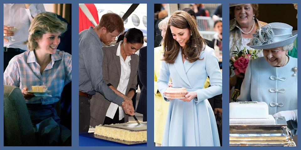 """<p class=""""body-dropcap"""">Everyone loves a slice of cake, and the British royals are no exception. Between their many elaborate events, dinners, and, of course, weddings, there are plenty of opportunities for cake-eating. Naturally, they have <a href=""""https://www.townandcountrymag.com/society/tradition/a32501209/kate-middleton-queen-elizabeth-best-royal-recipes/"""" rel=""""nofollow noopener"""" target=""""_blank"""" data-ylk=""""slk:their favorites"""" class=""""link rapid-noclick-resp"""">their favorites</a>—Queen Elizabeth is a longtime fan of the <a href=""""https://www.townandcountrymag.com/society/tradition/a9246438/queen-elizabeths-favorite-cake/"""" rel=""""nofollow noopener"""" target=""""_blank"""" data-ylk=""""slk:Chocolate Biscuit Cake"""" class=""""link rapid-noclick-resp"""">Chocolate Biscuit Cake</a>, bringing it with her when she travels. Even Queen Victoria <a href=""""https://www.townandcountrymag.com/society/tradition/a32711083/queen-victoria-sponge-cake-recipe-buckingham-palace/"""" rel=""""nofollow noopener"""" target=""""_blank"""" data-ylk=""""slk:had a piece of sponge cake every day"""" class=""""link rapid-noclick-resp"""">had a piece of sponge cake every day</a> with her afternoon tea. No matter which royal family member, a slice of this delicious dessert tends to spark joy. Below, find 25 delightful photos of British royals with cake—but beware, sugar cravings may occur. </p>"""