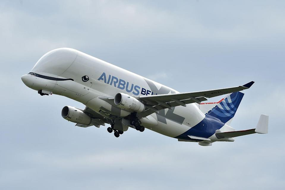 """<p>The Beluga is a heavily-modified A330-200 freighter <a href=""""https://www.airbus.com/newsroom/press-releases/en/2020/01/airbus-belugaxl-enters-service-adding-xl-capacity-to-the-fleet.html"""" rel=""""nofollow noopener"""" target=""""_blank"""" data-ylk=""""slk:designed to carry massive aircraft parts between 11 Airbus facilities in Europe"""" class=""""link rapid-noclick-resp"""">designed to carry massive aircraft parts between 11 Airbus facilities in Europe</a>. The cavernous interior is more than 26 feet wide and 206 feet long, making it the largest cargo bay cross section of any cargo aircraft worldwide. </p>"""
