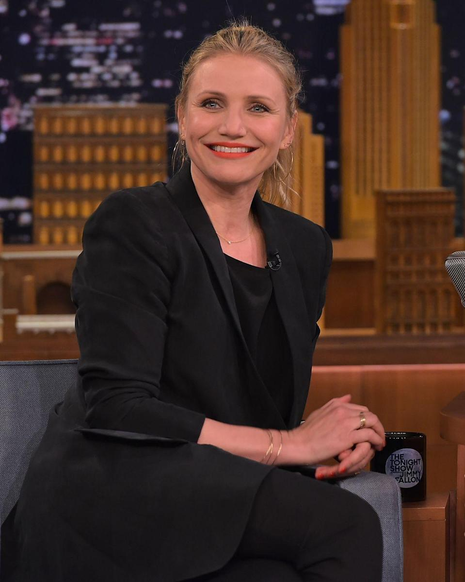"<p>Cameron Diaz tried Botox once but said she would never do that again. ""It changed my face in such a weird way that I was like, 'No, I don't want to [be] like [that]'… I'd rather see my face aging than a face that doesn't belong to me at all,"" Diaz told <a href=""https://www.etonline.com/movies/142247_ET_FIRST_Cameron_Diaz_Regrets_Botox"" rel=""nofollow noopener"" target=""_blank"" data-ylk=""slk:Entertainment Tonight"" class=""link rapid-noclick-resp"">Entertainment Tonight</a> in 2014.</p>"