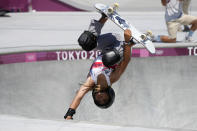 Sky Brown of Britain competes in the women's park skateboarding finals at the 2020 Summer Olympics, Wednesday, Aug. 4, 2021, in Tokyo, Japan. (AP Photo/Ben Curtis)