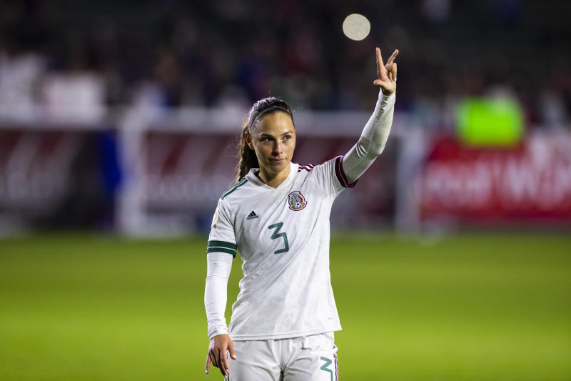 LOS ANGELES, CA - FEBRUARY 07: Mexico defender Janelly Farias (3) waves to the crowd during the CONCACAF Womens Olympic Qualifying Semifinal against United States on Friday, Feb. 7, 2020 at Dignity Health Sports Park in Carson, Calif. (Photo by Ric Tapia/Icon Sportswire via Getty Images)