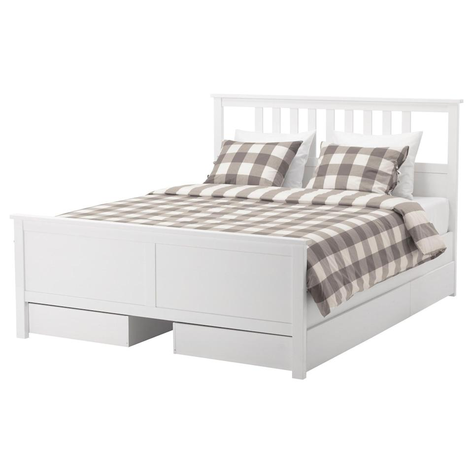 <p>Fold up your seasonal clothes, and store them in the <span>Hemnes Bed Frame</span> ($289) - it comes with four storage drawers!</p>