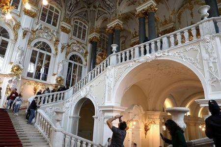 Visitors walk at the State Hermitage Museum in Saint Petersburg, Russia, July 1, 2018. REUTERS/Mariana Bazo