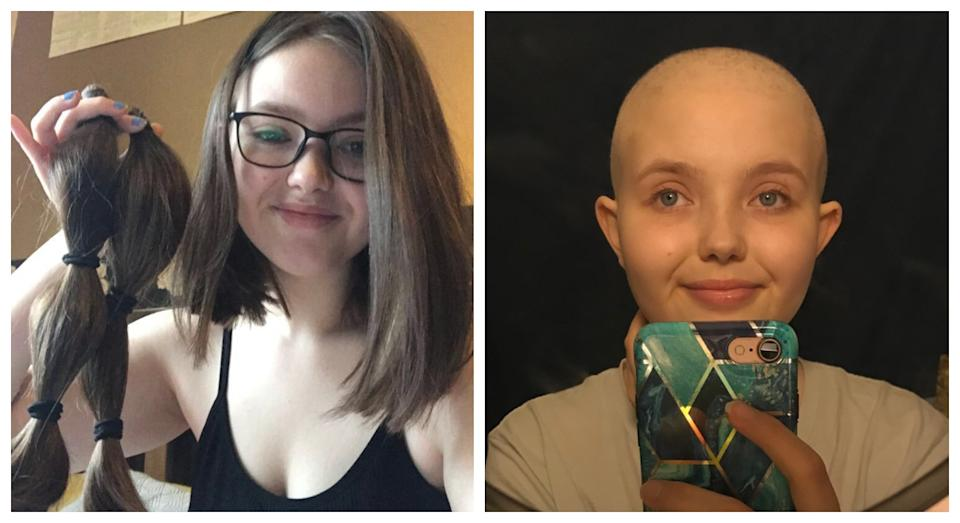 Erin donated her hair to charity in late February 2020 (PA)