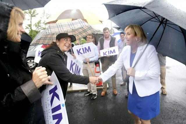 Lt. Gov. Kim Guadagno greets supporters prior to voting during the primary gubernatorial election, in Monmouth Beach, N.J., June 6, 2017. (Photo: Aristide Economopoulos/NJ Advance Media via AP)