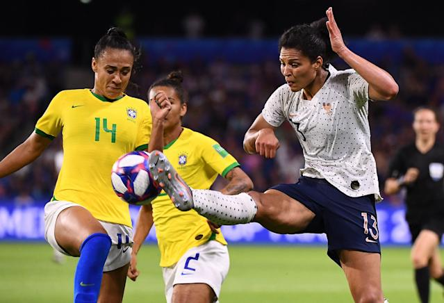France's midfielder Valerie Gauvin (R) vies with Brazil's defender Kathellen during the France 2019 Women's World Cup round of sixteen football match between France and Brazil, on June 23, 2019, at the Oceane stadium in Le Havre, north western France. (Photo by FRANCK FIFE / AFP) (Photo credit should read FRANCK FIFE/AFP/Getty Images)