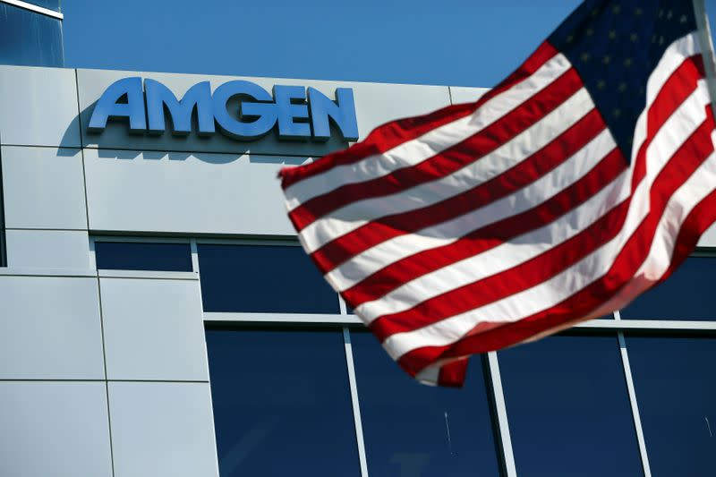 FILE PHOTO: An Amgen sign is seen at the company's office in South San Francisco