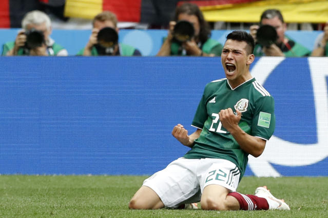 Mexico's Hirving Lozano, celebrates scoring his side's opening goal during the group F match between Germany and Mexico at the 2018 soccer World Cup in the Luzhniki Stadium in Moscow, Russia, Sunday, June 17, 2018. (AP Photo/Antonio Calanni)