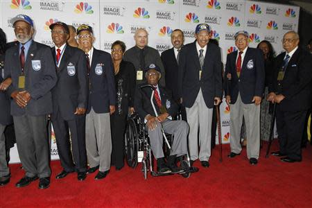 File photo of former members of The Tuskegee Airmen arrive at the 43rd NAACP Image Awards in Los Angeles