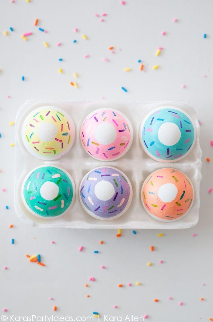 "<p>Doughnut lovers will love decking out their Easter eggs with colorful sprinkles. </p><p><strong>Get the tutorial at <a href=""http://karaspartyideas.com/2015/04/diy-doughnut-easter-eggs.html"" rel=""nofollow noopener"" target=""_blank"" data-ylk=""slk:Kara's Party Ideas"" class=""link rapid-noclick-resp"">Kara's Party Ideas</a>.</strong></p>"