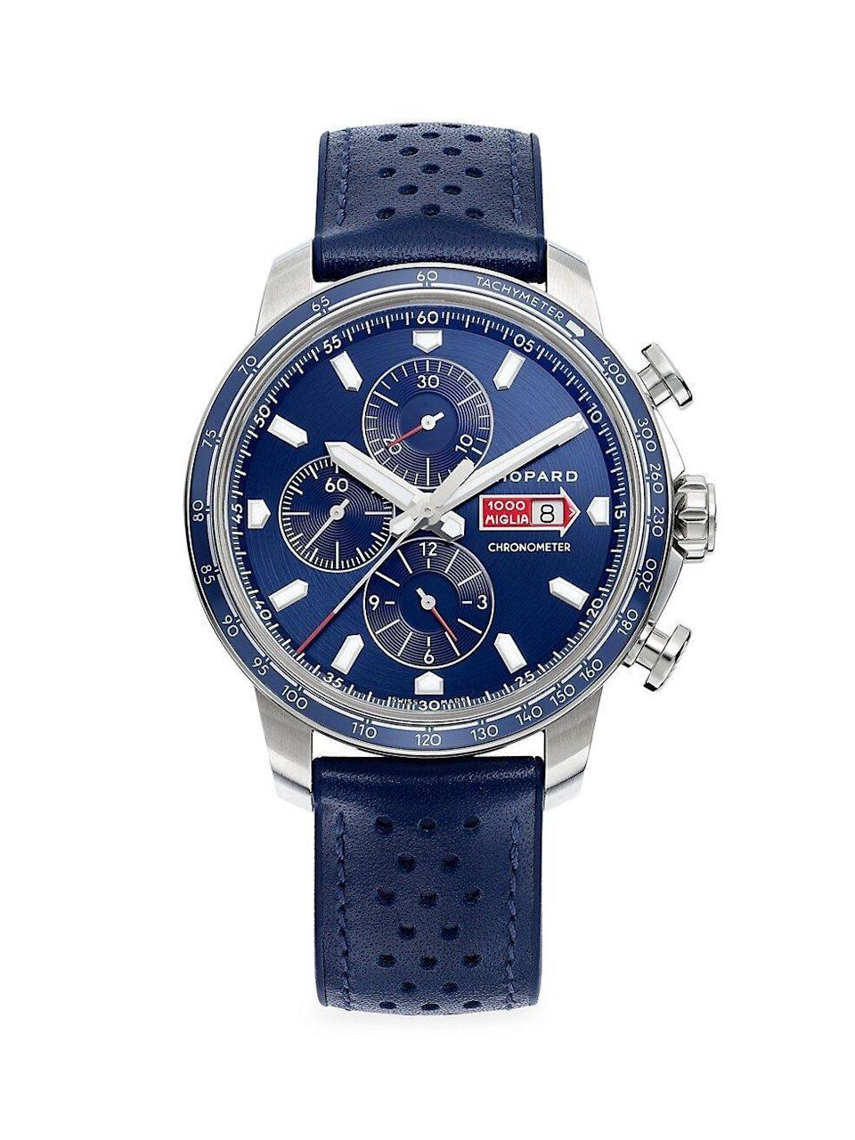 """<p><strong>Chopard</strong></p><p>saksfifthavenue.com</p><p><strong>$7400.00</strong></p><p><a href=""""https://go.redirectingat.com?id=74968X1596630&url=https%3A%2F%2Fwww.saksfifthavenue.com%2Fproduct%2Fchopard-classic-racing-mille-miglia-gts-azzurro-chrono-stainless-steel--amp--leather-strap-watch-12725627.html&sref=https%3A%2F%2Fwww.townandcountrymag.com%2Fstyle%2Fjewelry-and-watches%2Fg14418271%2Fbest-mens-luxury-watches%2F"""" rel=""""nofollow noopener"""" target=""""_blank"""" data-ylk=""""slk:Shop Now"""" class=""""link rapid-noclick-resp"""">Shop Now</a></p><p>Cast in stainless steel with a perforated blue leather strap, this self-winding watch is just as cool as it is casual.</p><p>Case size: 44mm</p>"""