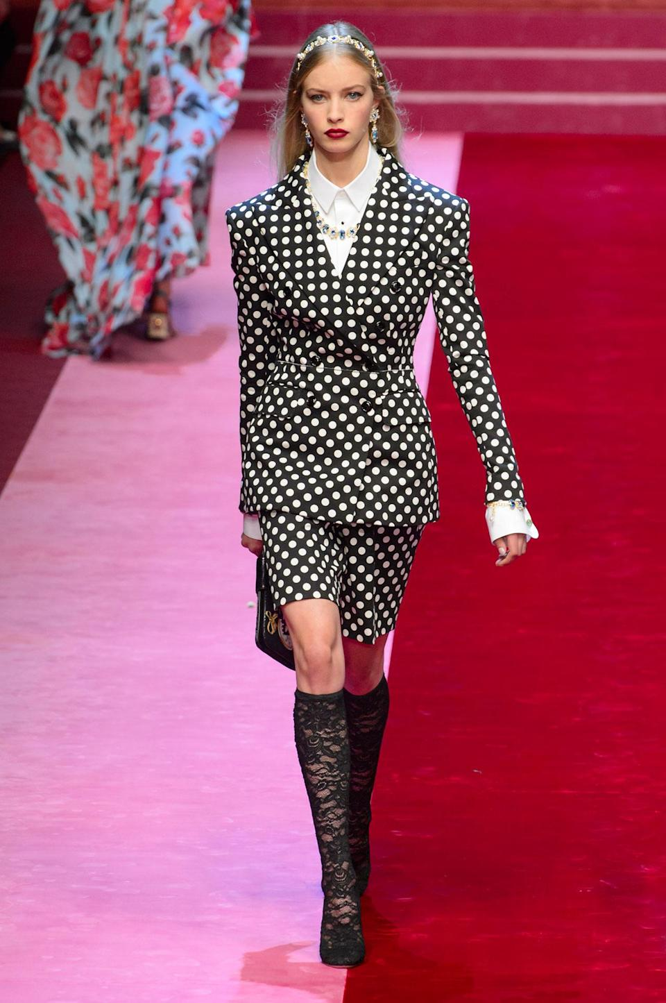 <p>Black and white polka dot blazer and skirt from the SS18 Dolce and Gabbana collection. (Photo: ImaxTree) </p>