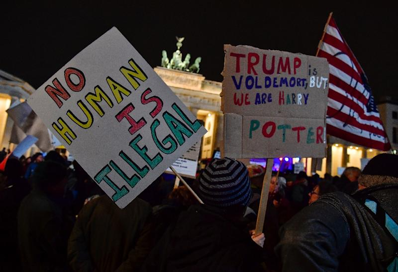 An anti-Donald Trump rally, on the day of his inauguration as US President, in front of Brandenburg Gate on January 20, 2016 in Berlin (AFP Photo/John MACDOUGALL)