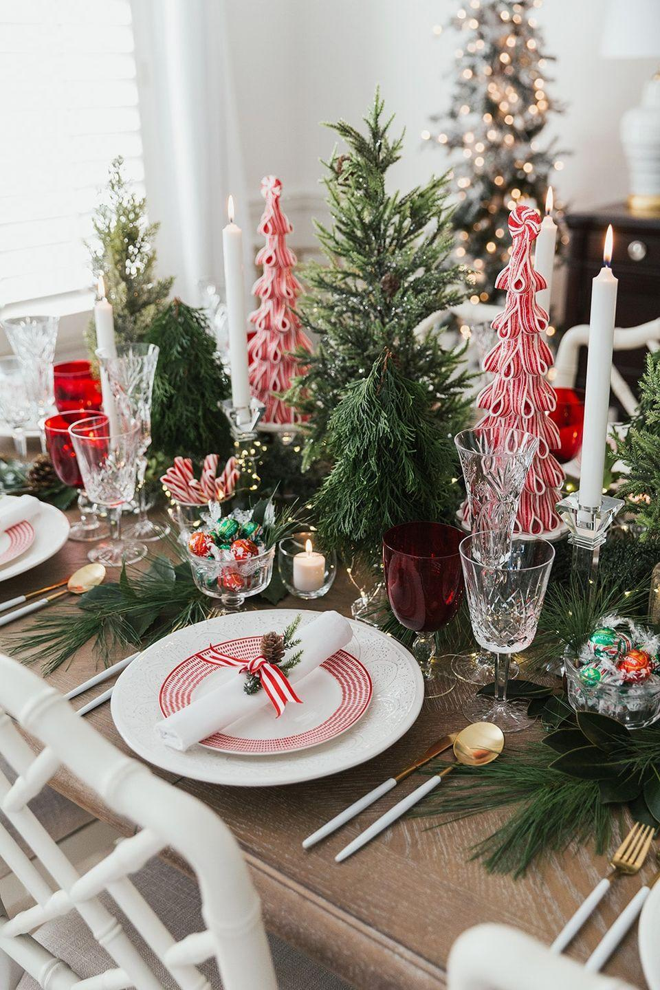 "<p>Believe it or not, you don't have to wait until after dinner to enjoy some dessert. Indulge your sweet tooth by transforming your favorite holiday candy into a centerpiece for your table.</p><p><a href=""https://pizzazzerie.com/featured/host-a-peppermint-holiday-dinner-party/"" rel=""nofollow noopener"" target=""_blank"" data-ylk=""slk:Via Pizzazzerie"" class=""link rapid-noclick-resp""><em>Via Pizzazzerie</em></a></p>"