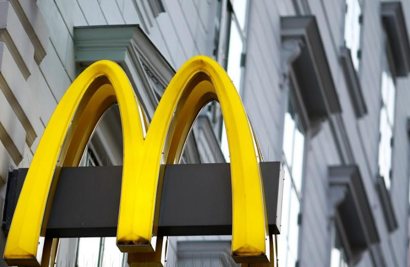 The logo of McDonalds is seen outside a shop in Vienna