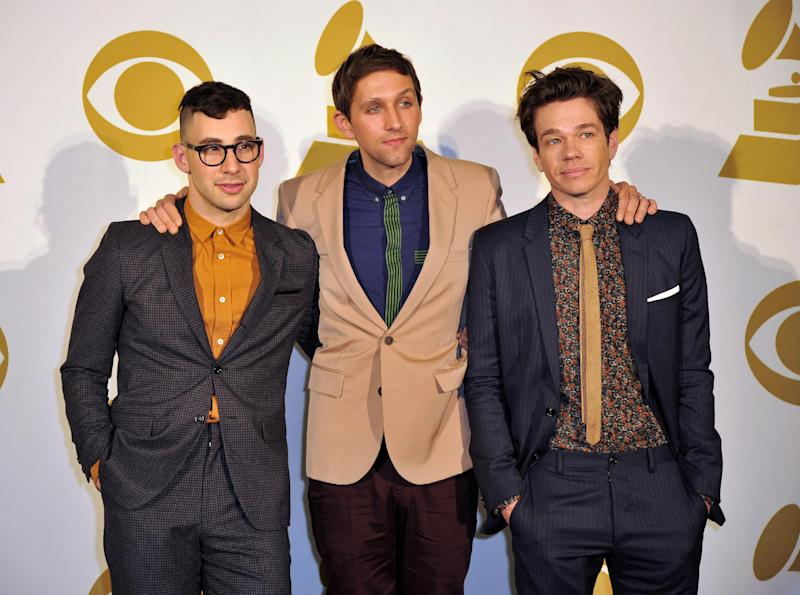 FILE - In this Dec. 5, 2012 file photo, the band fun., from left, Jack Antonoff, Andrew Dost and Nate Ruess pose for a photo backstage at the Grammy Nominations Concert Live! at Bridgestone Arena, in Nashville, Tenn. The band is up for six Grammy Awards, including the top four categories: album, song and record of the year, and best new artist. Their current tour wraps in Nashville, Tenn., on Feb. 16, 2013. (Photo by Donn Jones/Invision/AP, File)