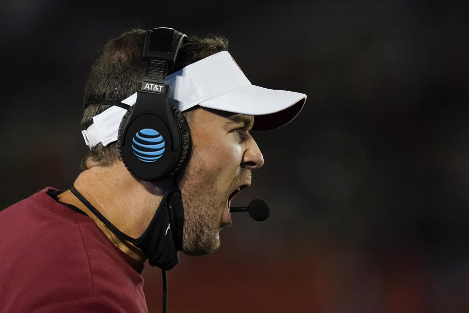 Oklahoma coach Lincoln Riley questions a call against his team during the first half a game against Iowa State on Oct. 3. (AP)