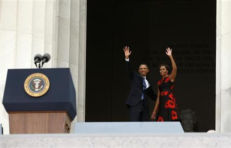 Obamas wave during the 50th anniversary of the March on Washington