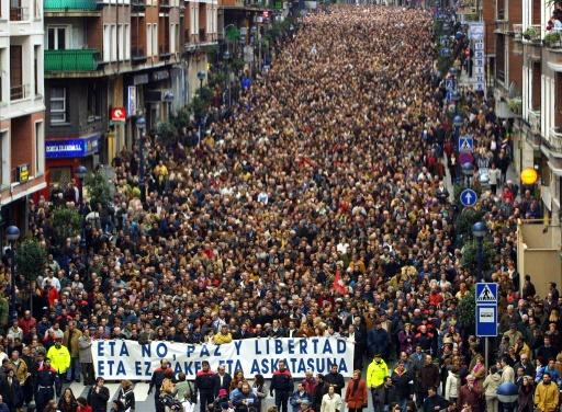 Thousands of people demonstrate against ETA in the town of Portugalete in 2002 after a bomb attack there