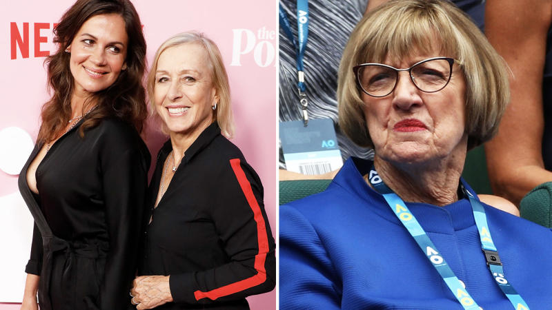 Julia Lemigova and Martina Navratilova, and Margaret Court, pictured here at the 2017 Australian Open. Image: Getty