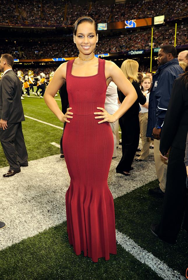 Alicia Keys attends the Pepsi Super Bowl XLVII Pregame Show at Mercedes-Benz Superdome on February 3, 2013 in New Orleans, Louisiana.  (Photo by Kevin Mazur/WireImage)