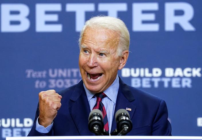 Joe Biden discuss the effects on the U.S. economy of the Trump administration's response to the coronavirus disease (COVID-19) pandemic during a speech in Wilmington, Delaware, U.S. on September 4, 2020. (Kevin Lamarque/Reuters)
