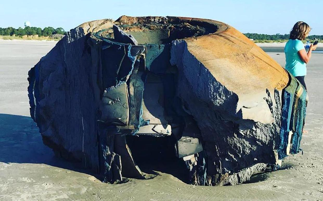 The mysterious object washed up on a South Carolina Beach, baffling both locals and experts. Image: Facebook/Lowcountry Marine Mammal Network