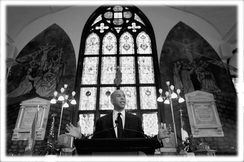 Sen. Cory Booker delivers a major speech on gun violence and the rising tide of hatred and white nationalism in America at Emanuel AME Church in Charleston, South Carolina, U.S., August 7, 2019. (Photo: Randall Hill/Reuters; digitally enhanced by Yahoo News)
