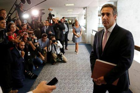 Cohen departs after meeting with Senate Intelligence Committee staff on Capitol Hill in Washington