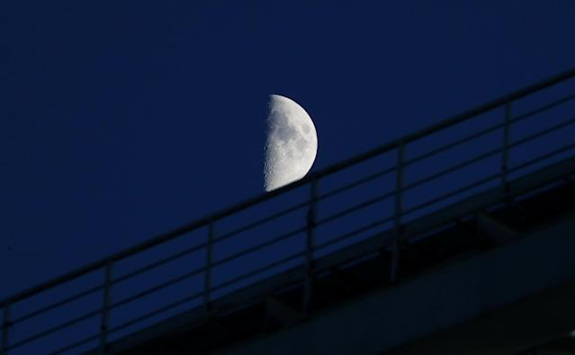 Soccer Football - World Cup - Group B - Iran vs Spain - Kazan Arena, Kazan, Russia - June 20, 2018 General view of the moon over the stadium before the match REUTERS/Jorge Silva