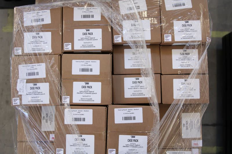 Boxes of cannabis products by Tutti are seen in the Nabis warehouse in Oakland