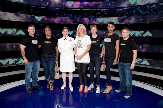 President of GLAAD Sarah Kate Ellis, center, and transgender military members attend the 2017 MTV Video Music Awards at the Forum on Aug. 27, 2017, in Inglewood, Calif. (Photo: John Shearer/Getty Images for MTV)