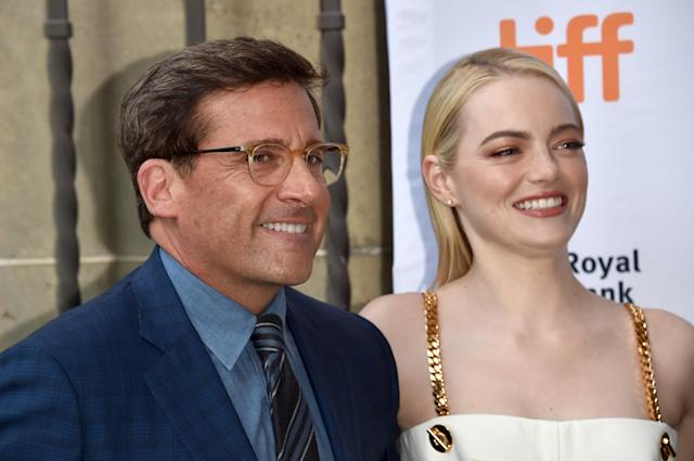"TORONTO, ON – SEPTEMBER 10: Steve Carell (L) and Emma Stone attend the ""Battle of the Sexes"" premiere during the 2017 Toronto International Film Festival at Ryerson Theatre on September 10, 2017 in Toronto, Canada. (Photo by Alberto E. Rodriguez/Getty Images)"