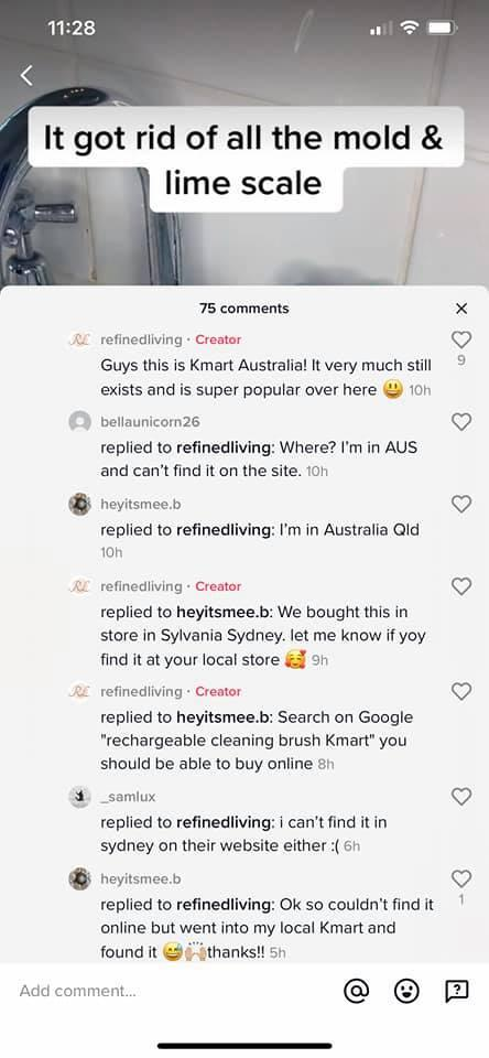 Screenshots from a TikTok video about Kmart's 'Rechargeable Cleaning Brush'
